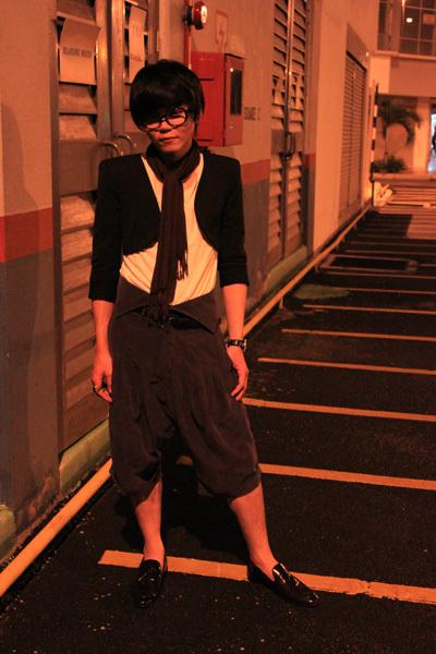 black Zara blazer - white Topshop shirt - brown flea market scarf - gray vintage