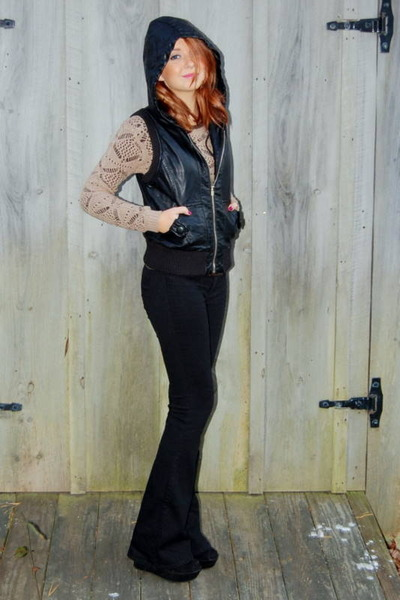crochet Forever 21 sweater - flared PacSun jeans - pleather Forever 21 vest