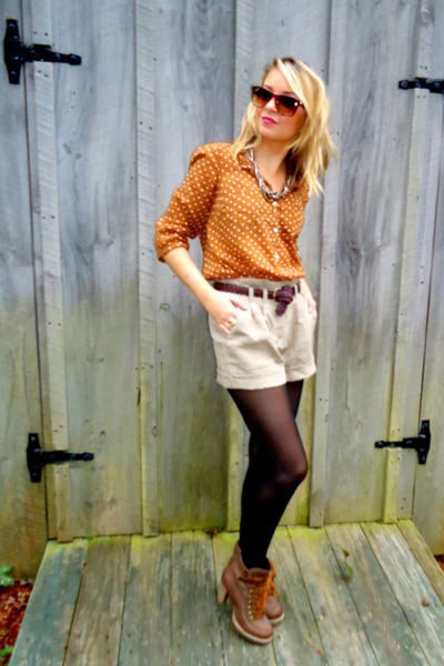burnt orange polka dot Old Navy blouse - brown lace up Charlotte Russe boots