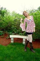 dark brown lace up Rocketdog boots - salmon flared 344 shirt - white lace Wetsea