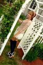 camel sheer moms vintage sweater - pink floral Charlotte Russe shirt - navy knee
