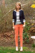 light orange skinny H&M jeans - navy fitted American Eagle blazer - silver super