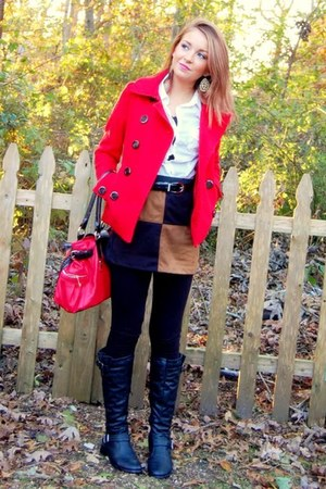 red peacoat H&M coat - black riding Charlotte Russe boots