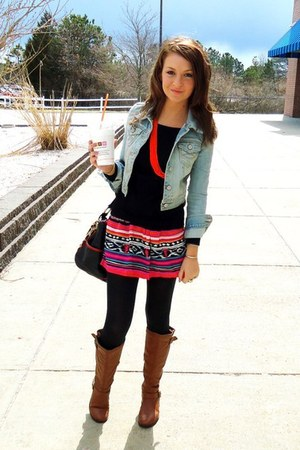 tribal Forever 21 skirt - sky blue denim abercrombie and fitch jacket