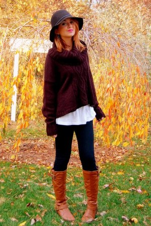 black baggy random sweater - tawny riding Charlotte Russe boots