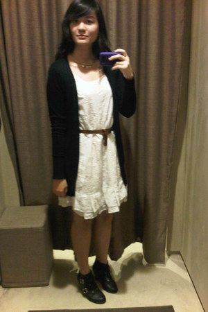 black new look boots - white Zara dress - black Zara cardigan