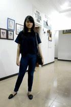 black Gaudi bag - blue jeans - black Topshop flats - navy Zara blouse