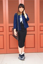 navy Zara jacket - black new look top