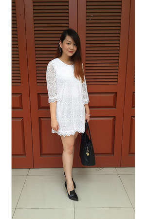 white lace H&M dress - black GOWIGASA bag - dark brown dfuse heels