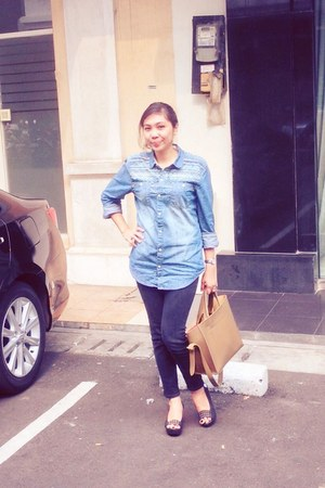 sky blue cotton on blouse - black cotton Posh Boy jeans