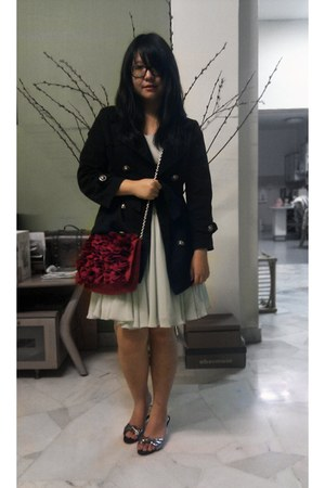 black coat - brick red Topshop bag - periwinkle dress - silver nose shoes