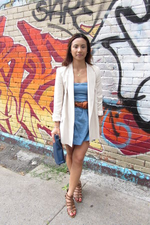 vintage - H&M belt - Zara blazer - Forever 21 dress - Zara shoes