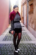 black Zara bag - Parfois bag - Mango shoes - ruby red Stradivarius scarf