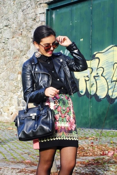 Mango skirt - hm jacket - Parfois bag - Parfois earrings - Primark blouse