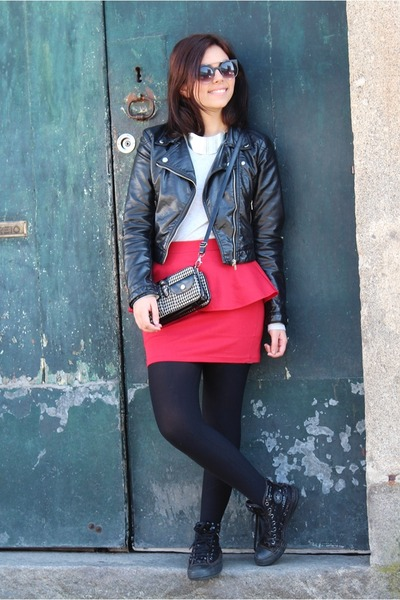 Zara skirt - H&M jacket - Zara top - Converse sneakers - H&M necklace