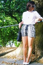 Mango shoes - black Mango shorts - Mango sunglasses - white Zara blouse