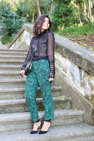 Parfois purse - Zara pants - Zara pumps - Parfois earrings - Mango blouse