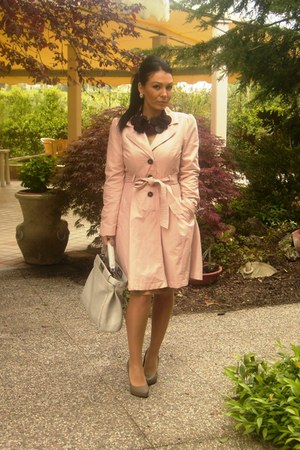pink H&M coat - gray Fendi purse - flower black necklace - nude heels