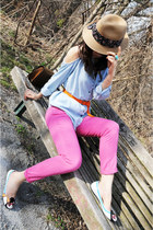 bubble gum Zara jeans - tan Talula hat - light blue studded Stortes shirt - ligh