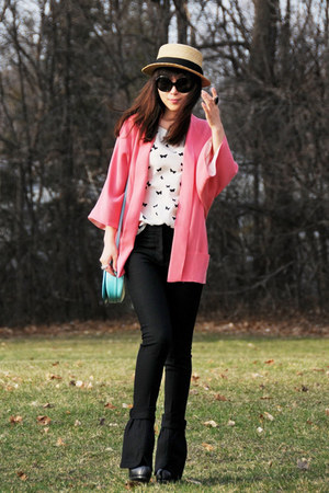 black YSL boots - tan Talula hat - salmon Zara blazer - aquamarine Burberry bag