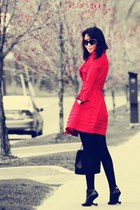 black united nude boots - black Zara hat - red trench Givh Shyh jacket