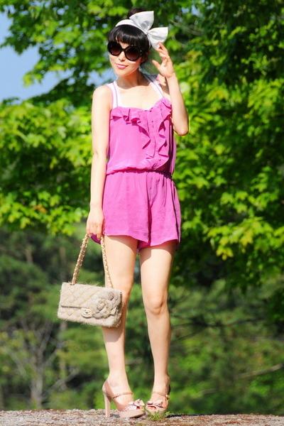 Chanel bag - Prada sunglasses - peep toe Miu Miu heels - bow headband American A