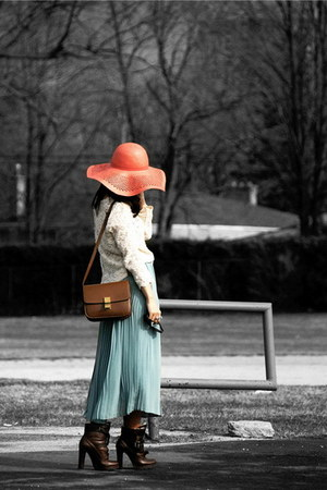 brown Dolce Vita boots - salmon H&M hat - cream Zara sweater - light brown Celin