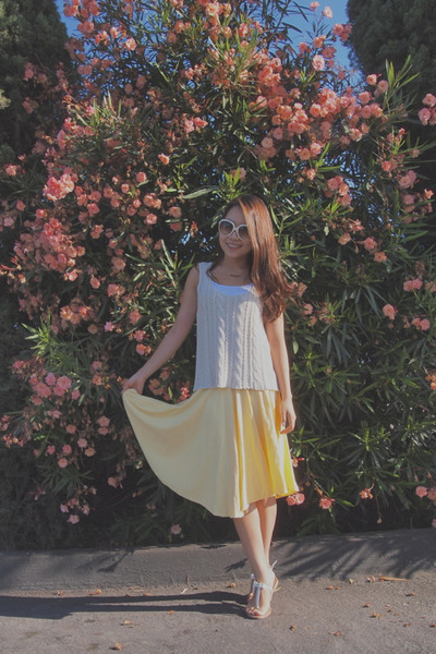 yellow long korea skirt - white christian dior sunglasses - white BCBG sandals