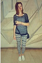 black Stradivairus leggings - white Shana shoes - black Tally Weijl bag