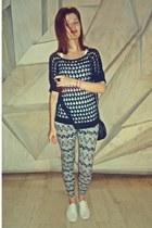 black Stradivairus leggings - white Shana shoes - black Tally Weijl bag