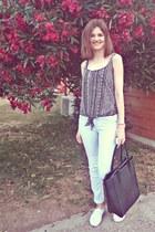 black H&M bag - light blue BLANCO jeans - black Stradivairus blouse