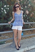 sky blue Tally Weijl top - periwinkle H&M bag - white Tally Weijl shorts