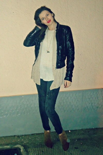 black H&M jacket - bronze Tally Weijl boots - dark gray Bershka jeans