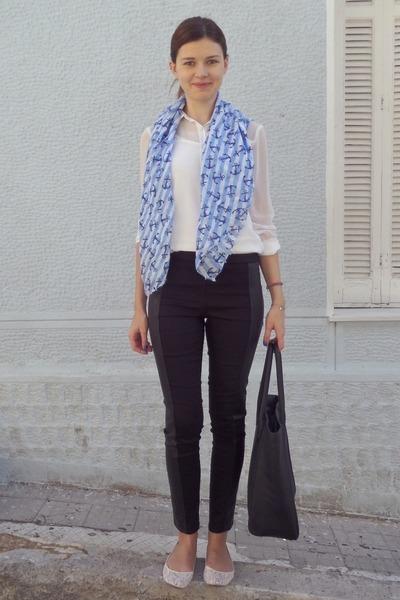 white pull&bear shirt - sky blue pink woman scarf - black H&M bag