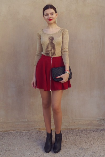 ruby red Bershka skirt - black H&M boots - black Tally Weijl bag