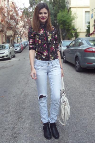 black choiescom shirt - black Tally Weijl boots - sky blue Tally Weijl jeans