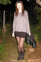 heather gray H&M jacket - dark brown Coolway boots - black H&M blouse