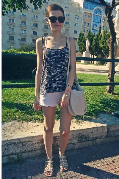 beige H&M bag - ivory Tally Weijl shorts - black Zara blouse