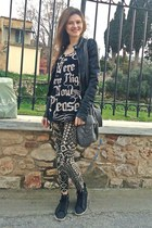 black H&M jacket - camel BLANCO leggings - charcoal gray Bershka bag