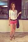 White-pull-bear-shirt-black-h-m-bag-hot-pink-h-m-shorts-black-bershka-belt