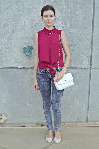 maroon H&M shirt - heather gray H&M jeans - white Tally Weijl bag