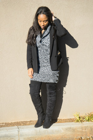 tweed Meijer dress - JustFab boots - Express blazer - Express shirt