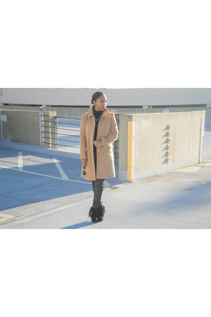 wool Victorias Secret coat - JustFab shoes - H&M pants
