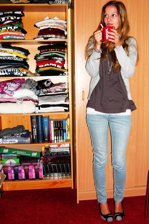 H&M jacket - CC-OO shirt - Levis jeans - abercrombie and fitch top - Cocoeve sho