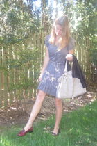 f21 dress - gray Von Maur bag - black Landsend sweater - brown Penny loafer shoe