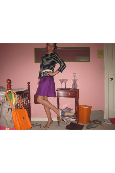 black ann taylor sweater - pink Liz Claiborn belt - purple dress - gold Fioni sh