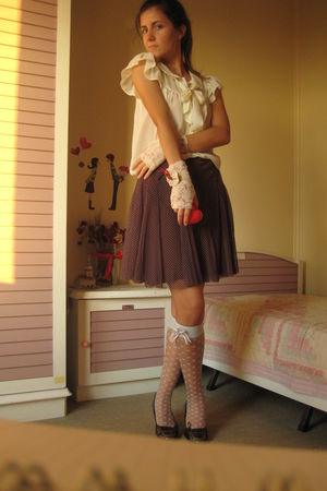 beige H&M blouse - brown -- skirt - blue wwwpinkpongetsycom socks - beige hanmad