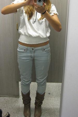 Forever21 top - random jeans - Vtg boots