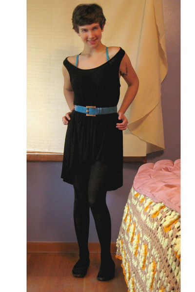 dress - thrifted belt - Victorias Secret intimate - Betsey Johnson tights - shoe