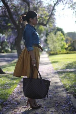 Forever 21 skirt - Levis shirt - Louis Vuitton bag - ray-ban sunglasses
